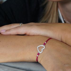 srebrna rodowana sznurkowa bransoletka z sercem wysadzanym kryształkami Swarovskiego - with love - permane bizuteria 7