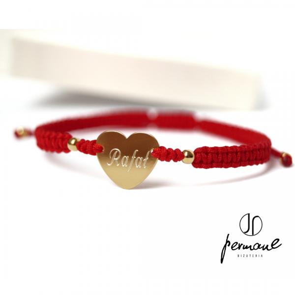 Bransoletka pleciona z personalizowanym sercem – WITH LOVE – PERMANE BIŻUTERIA