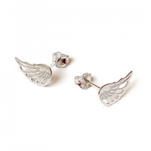 srebrne rodowanw kolczyki sztyfty z motywem skrzydeł anioła - simple - permane biżuteria6