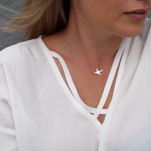 srebrny rodowany naszyjnik z jaskółką - swallow - permane biżuteria 7