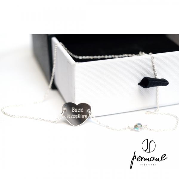 Srebrny naszyjnik z personalizowanym sercem – BE YOURSELF – PERMANE BIŻUTERIA