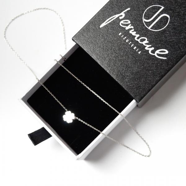 Srebrny rodowany naszyjnik z motywem czterolistnej koniczyny – PERMANE BIŻUTERIA – Simple 1(1)