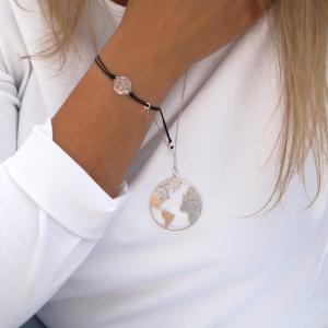 Srebrny rodowany naszyjnik z dużym globusem 2 - world - permane bizuteria