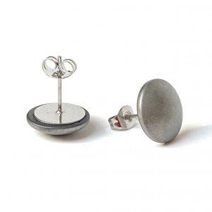 kolczyki sztyfty z platerowanym srebrnym kamieniem hematytem - made of stone - permane biżuteria 21