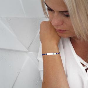 bransoletka z podłużną personalizowaną grawerem blaszką - simple - permane biżuteria 5