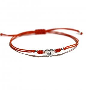 sznureczkowa bransoletka ze srebrnym serduszkiem - simple - permane biżuteria 1