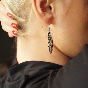 Kolczyki z długimi piórami - boho - permane biżuteria 5