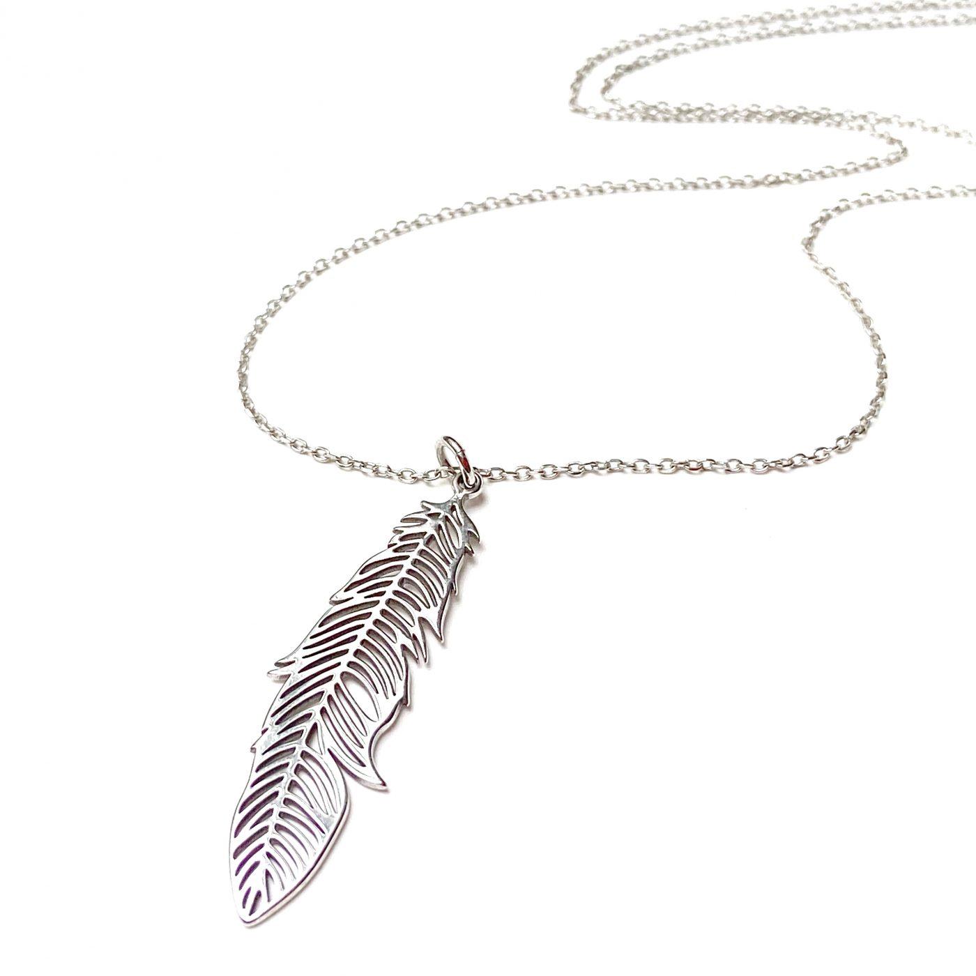 Naszyjnik z długim piórem - boho - permane biżuteria 1