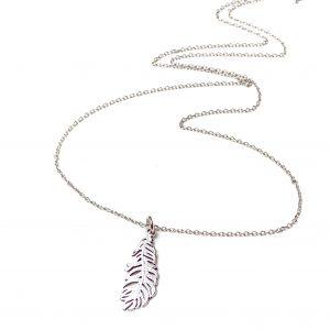 Naszyjnik z piórem - boho _ permane biżuteria 2