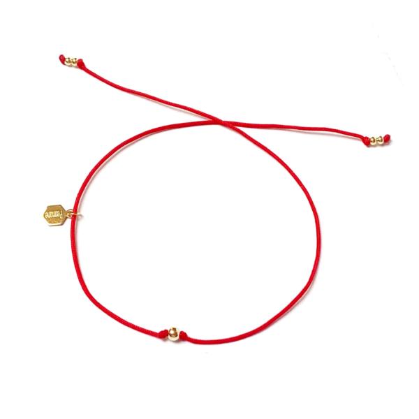 Złota bransoletka Happiness na czerwonym sznurku – be yourself – permane bizuteria 88