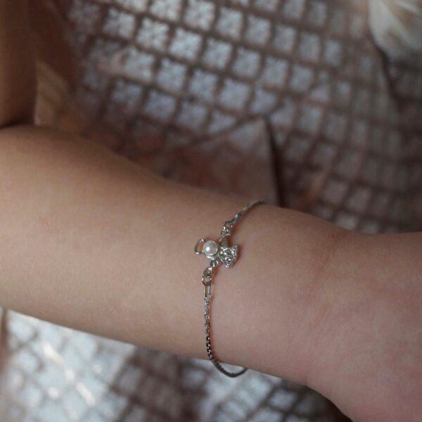 Bransoletka srebrna z aniołkiem – kamini – permane bizuteria 2