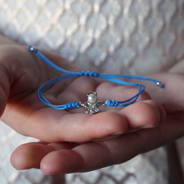 Bransoletka sznurkowa z aniołkiem – kamini – permane bizuteria 2